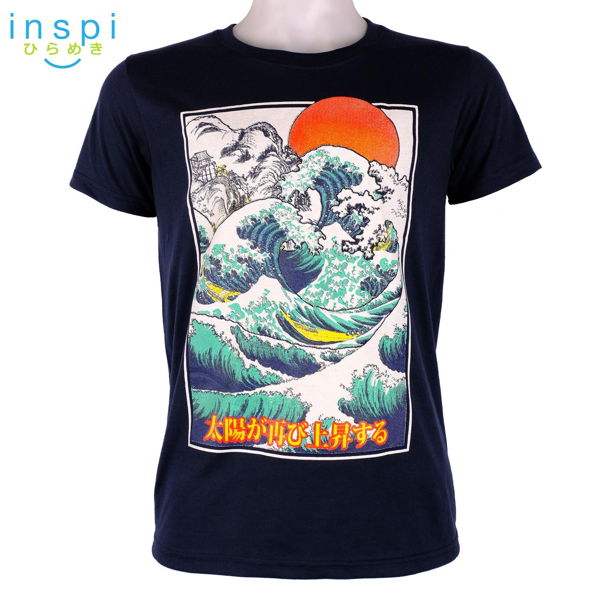 a21b8f0f918b INSPI Tees Waves (Navy Blue) tshirt printed graphic tee Mens t shirt shirts  for