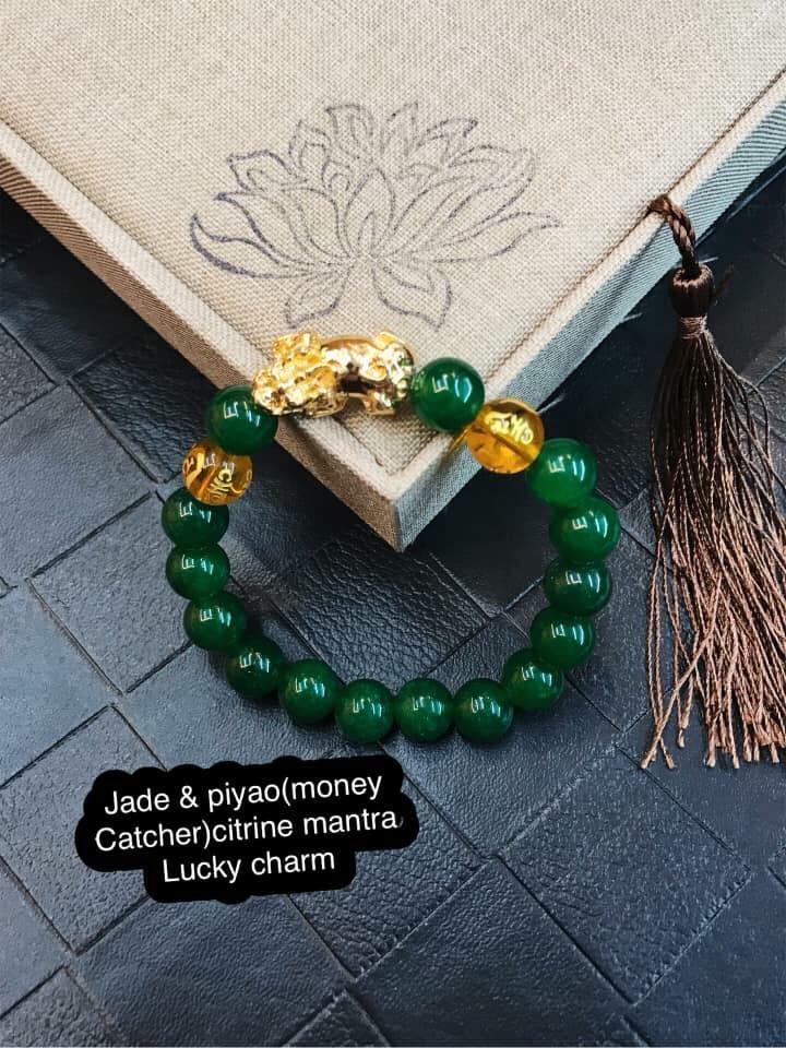 Red Agate Tiger eye black onyx stone piyao (money catcher)& citrine mantra lucky