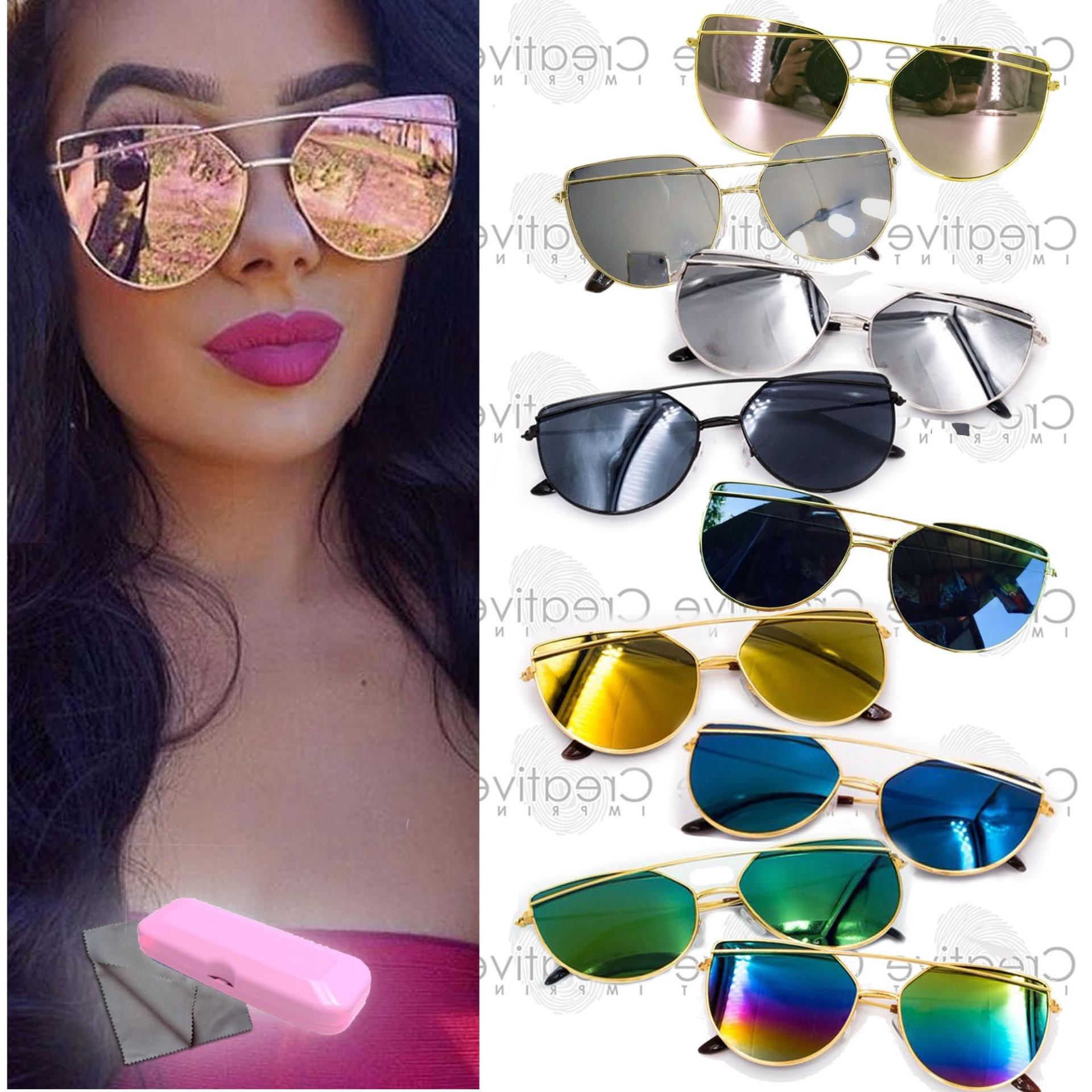 20fd55aa00 Double Bridge Cat Eye Flat Sunnies Sunglasses (FREE CASE WIPER) Shades  Light Metal Lens Frame Mirror Trendy Korean Fashion Eyewear UVA UVB  Protection