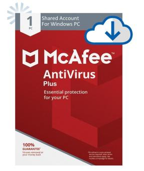 McAfee Antivirus Plus 2018 Updated up to 5 Yrs. subscription until 9-9-2023 (SHARED ACCOUNT for WINDOWS PC)