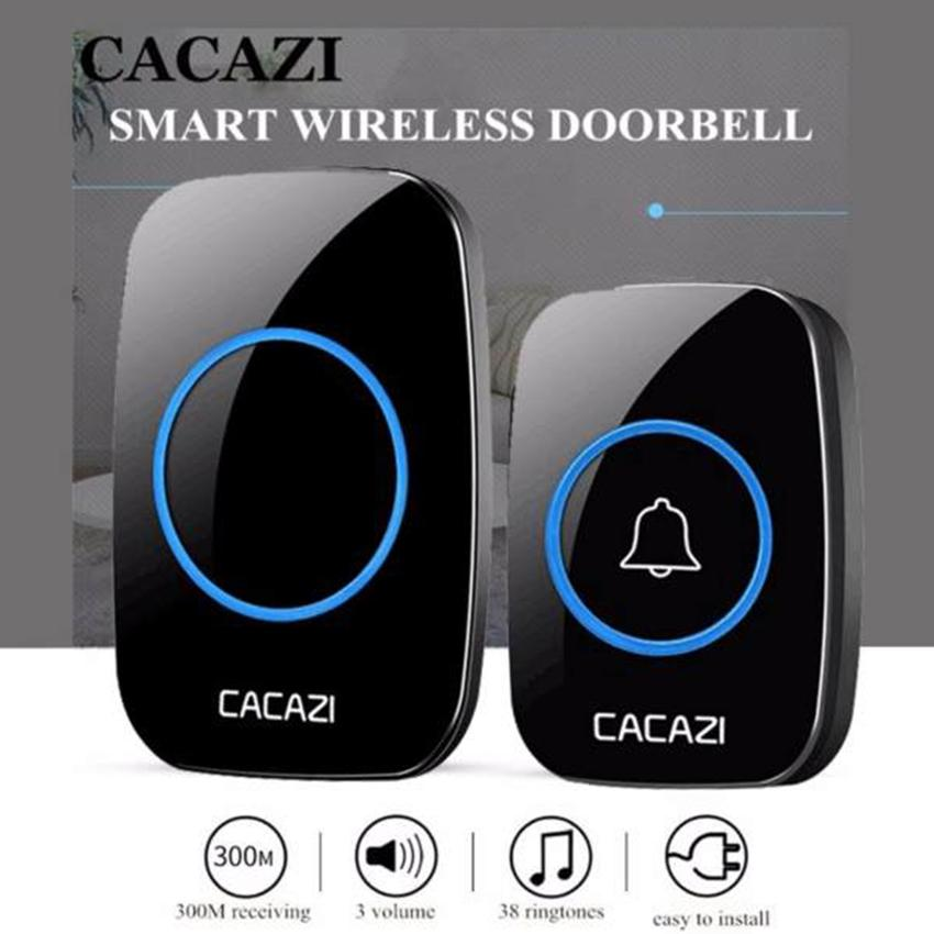 Wireless Doorbell CACAZI Waterproof 300M Remote EU AU UK US Plug smart Door  Bell Chime battery 1 2 button 1 2 3 receiver AC