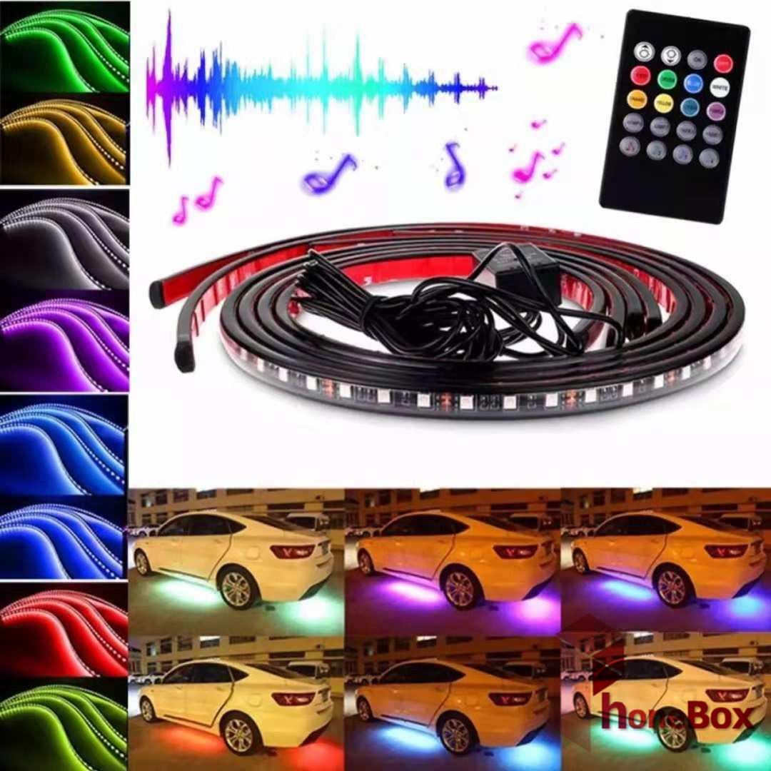 L13 Underglow Car Automobile Chassis LED Strip Atmosphere Lights, 20Key Wireless Remote Control Sound Active