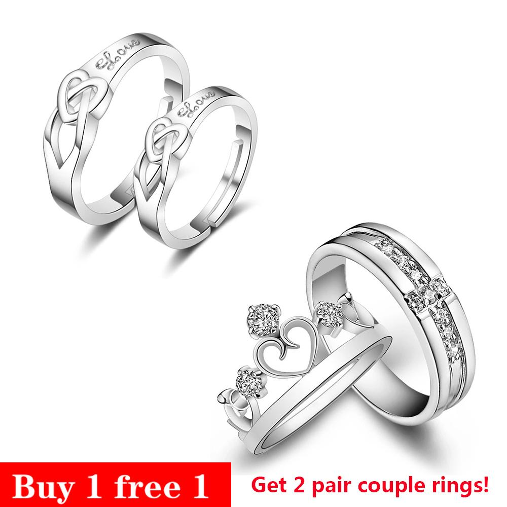 Adjustable Rings Couple Rings Jewellry 925 Silver Adjustable Lovers RingsFree Couple Rings E005 [ Buy 1