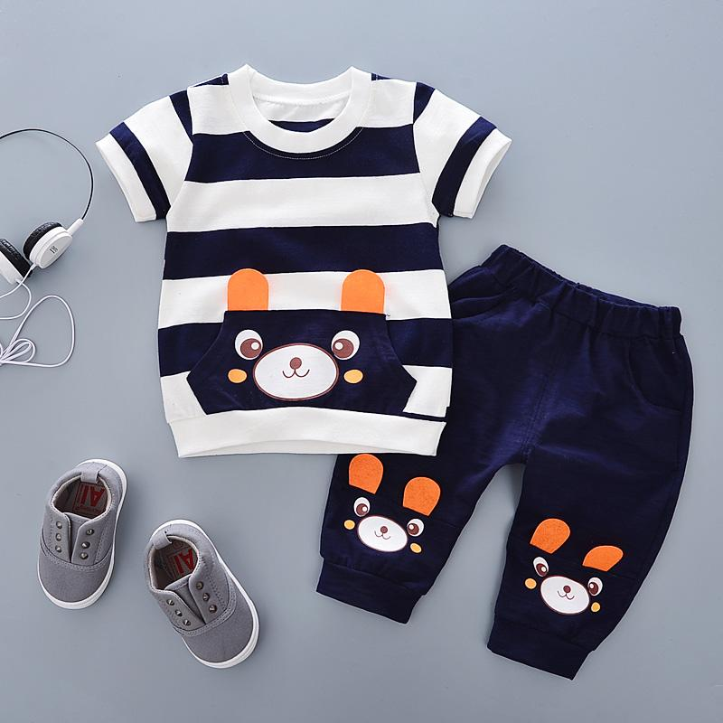 Baby Summer Wear Set 2019 New Style Cartoon Bear Short Sleeve T-Shirt Infants Children Summer Clothes Two-Piece Set 1-3 Years Old By Taobao Collection.