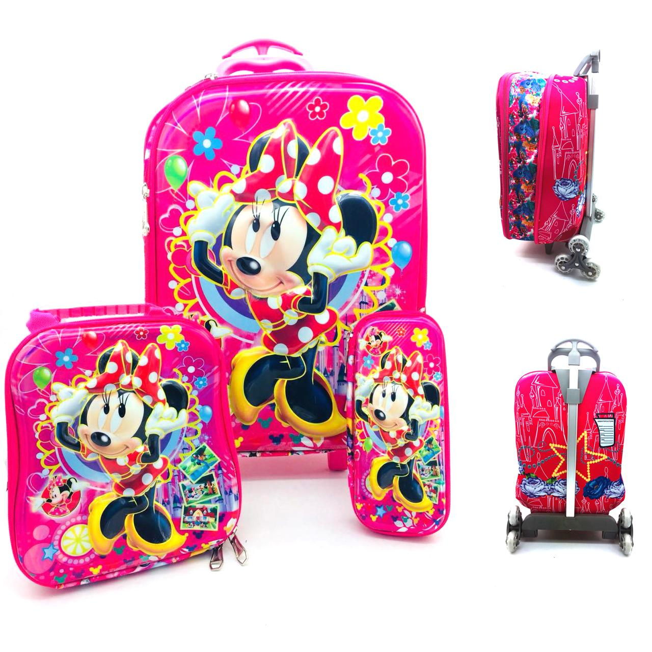 53d813bd2f Abby Shi Kids 2 Zipper Girls Boys 6D 3 Piece Luggage Trolley Wheel Set  Cabin Suitcase