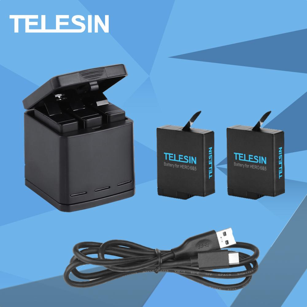 Telesin Charging BOX FOR GoPro HERO 5 6 Multi Function 3 Channel Charger 2 Spare Batteries