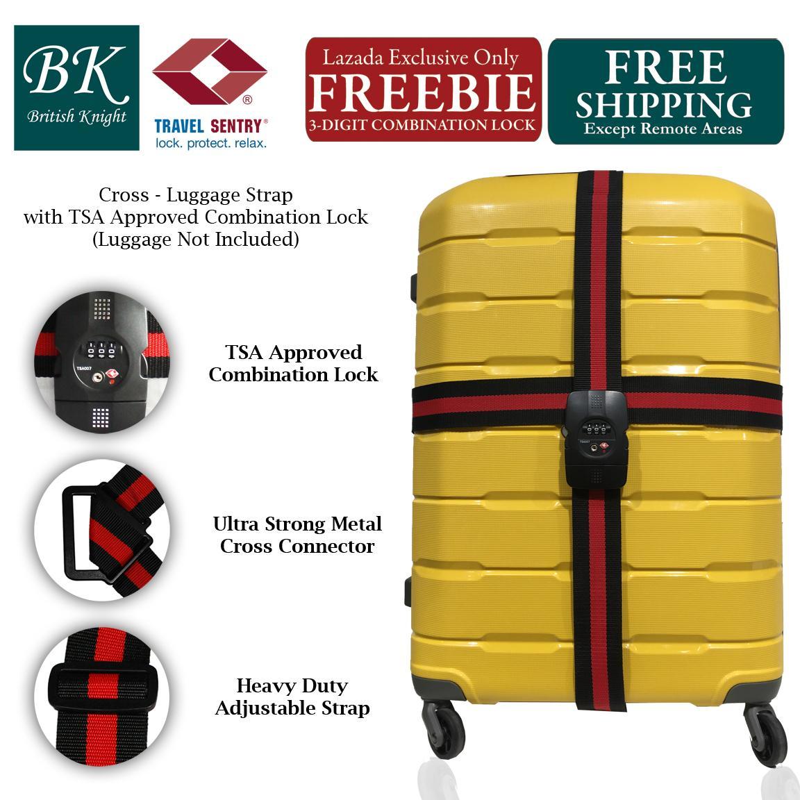 19c7311813d1 British Knight XAC001 TSA Approved Luggage Cross Strap Belt (Free Separate  3-Digit Combination Lock)
