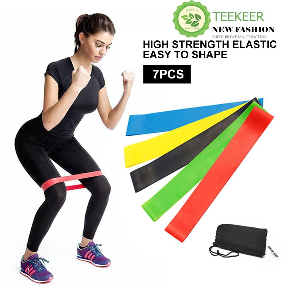 Teekeer 7Pcs Resistance Exercise Bands Workout Loop Bands Stretch Bands  With Carry Bag-Best For d7f434ae7e47e