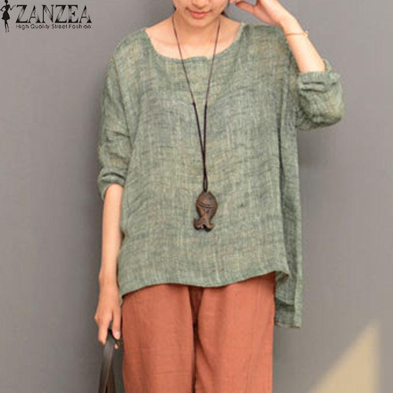 eeadb296845 ZANZEA Plus Size Women Retro O Neck Long Sleeve Split Cotton Linen Spring  Robe Blouse Shirt