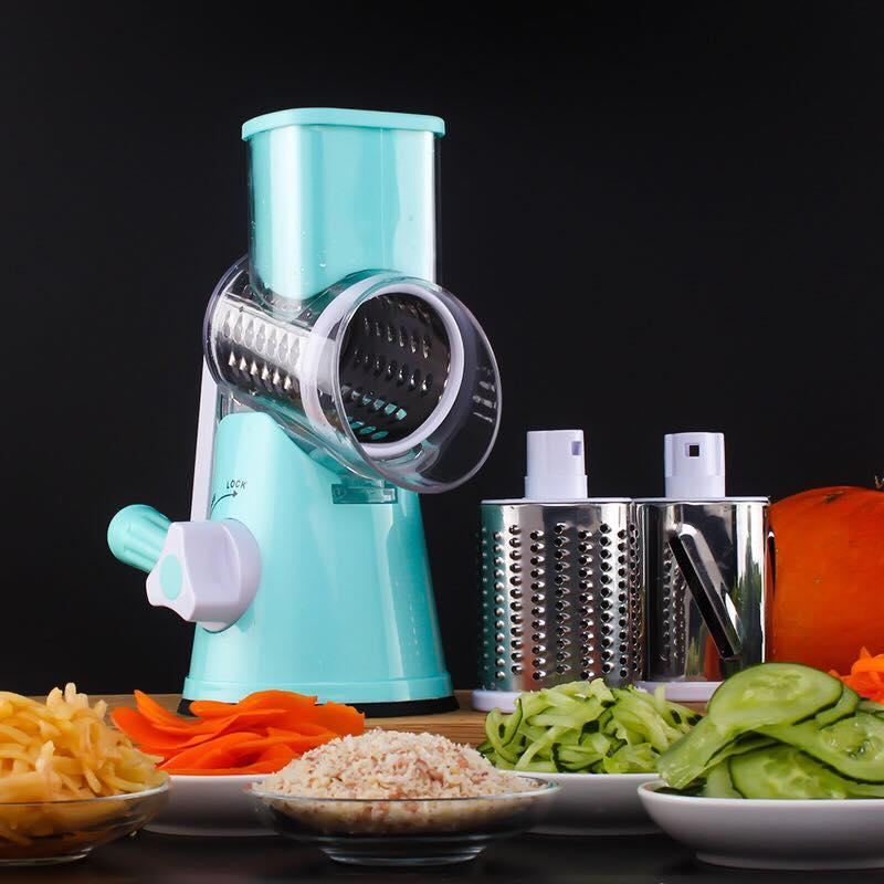 Multifunctional Roller Shredder Round Mandoline Slicer Vegetable Cutter for Potato Carrot Grater Cheese - intl