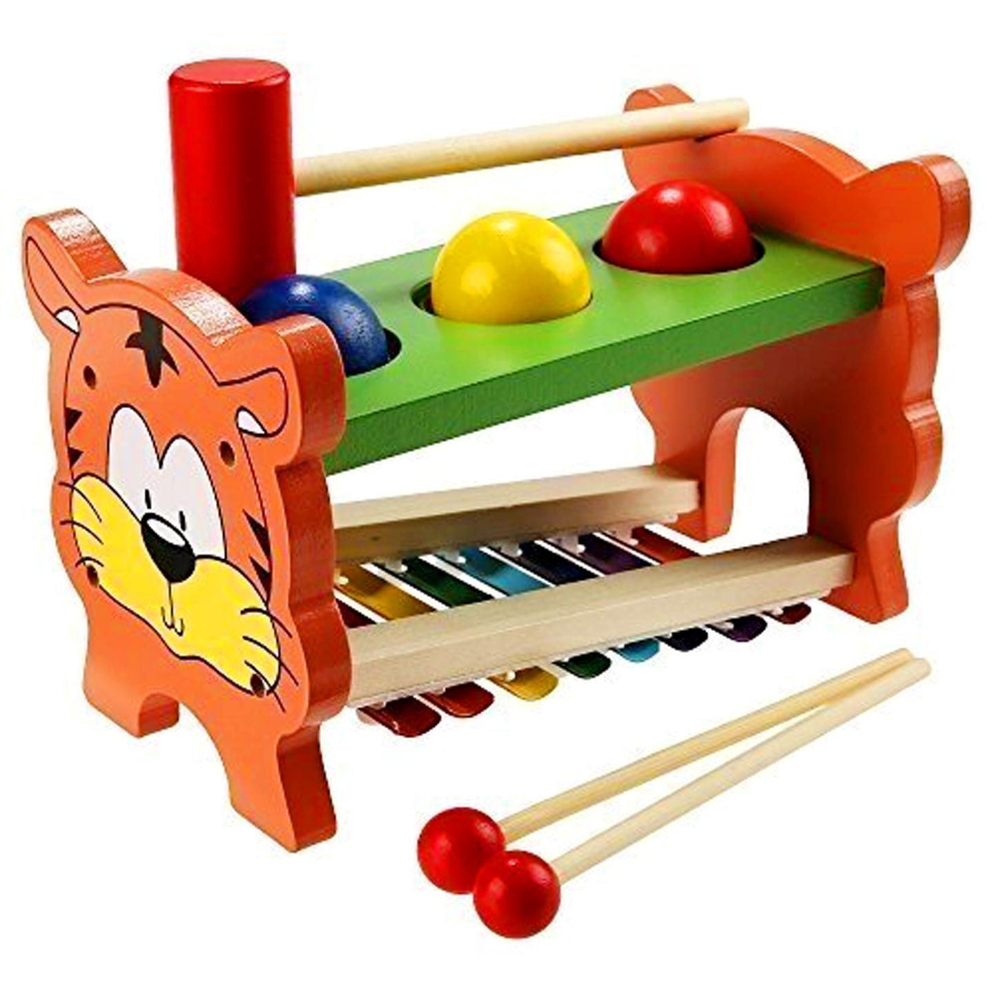 2-In-1 Wooden Pounding Bench Hammer Ball And Musical Xylophone Educational Development Music Toy For Kids By Christine Gutierrez-Eliseo.