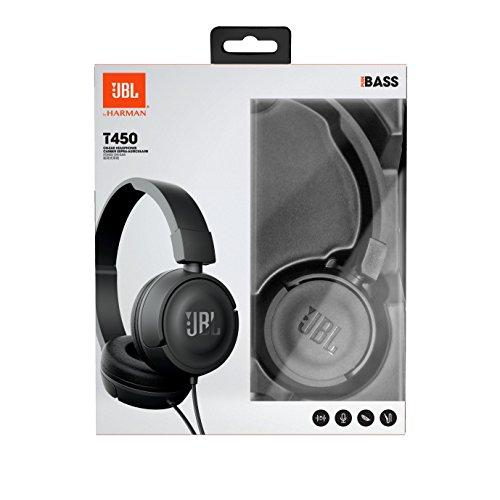 JBL T450 On-ear & Over-ear headphones Pure bass sound 1-button remote &  microphone Lightweight and foldable design w/ Tangle-free flat cable