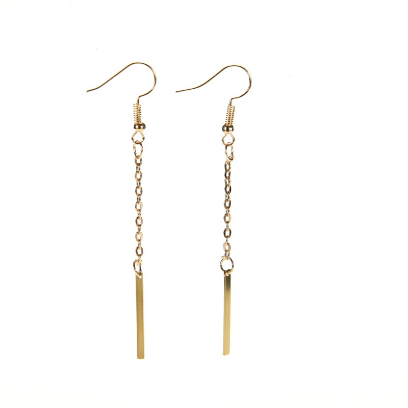 Women Fashion Jewelry Gold Plated Long Dangle Drop Chain Hook Earrings Ear Stud