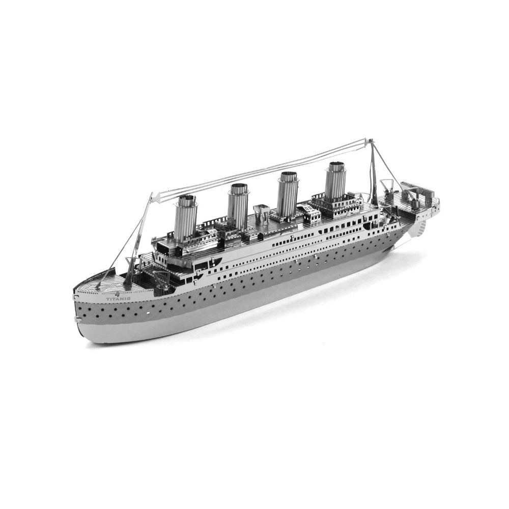 531ec978 3D Puzzles Titanic Silver 3D Metal Jigsaw Model Kit DIY Boat Ship Gift  Model Educational Toys - intl