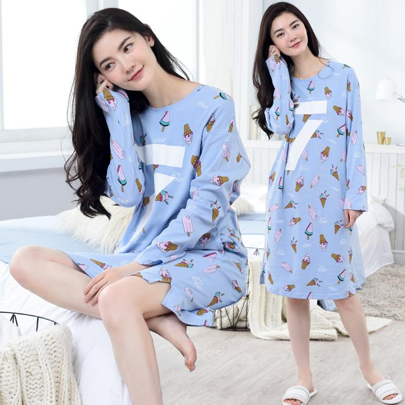 54a1b2bbd7 Spring And Autumn Korean Style Cute Princess Pure Cotton Nightgown women  Winter Long Sleeve Cartoon girl
