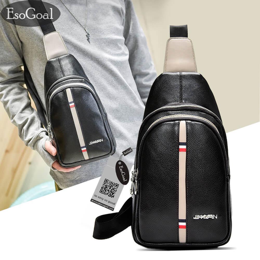 Esogoal Men Crossbody Bag Sling Pu Leather Chest Shoulder Backpack Cross Body Purse Water