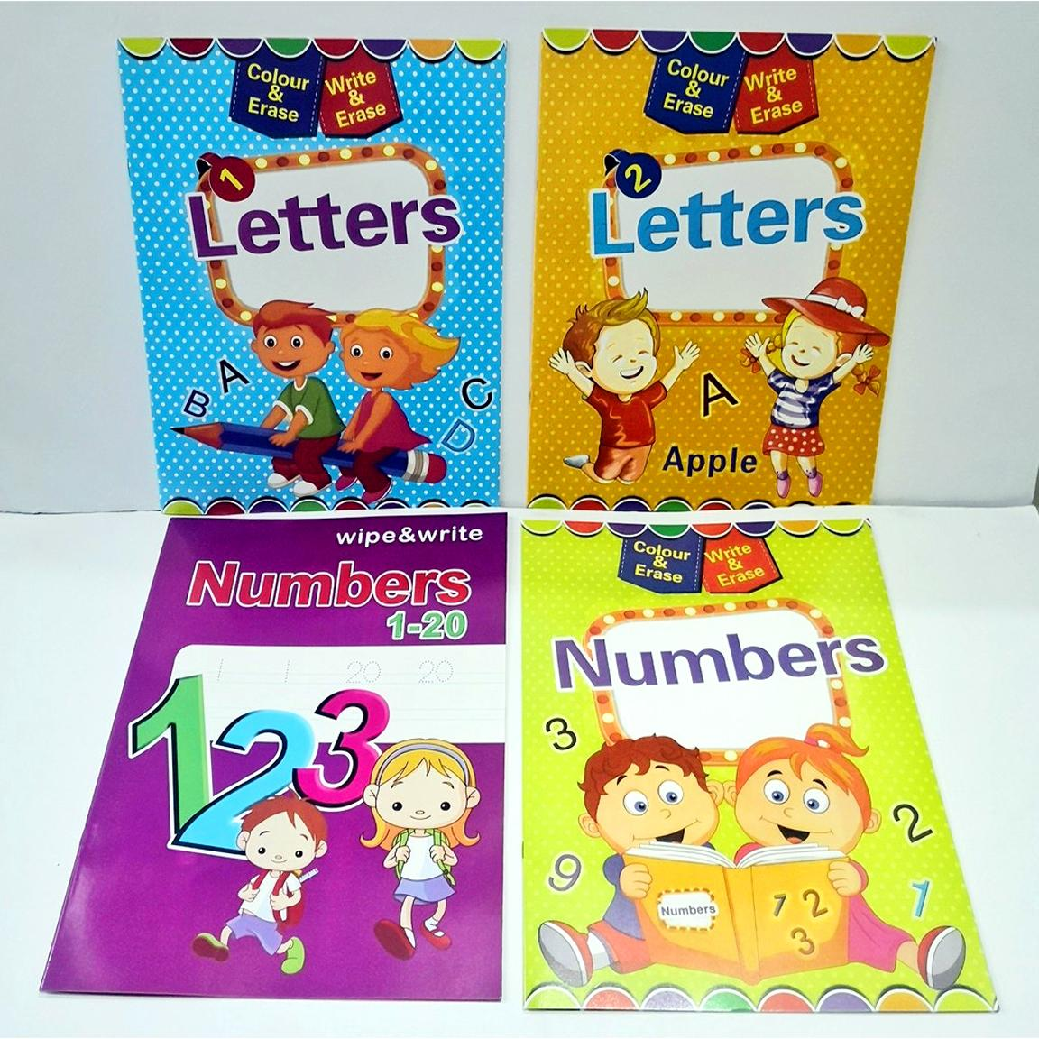 Big Book Write And Erase Alphabet And Numbers Writing Activity Book Set For Toddlers Kids (4 Pcs) By Tanyabella.