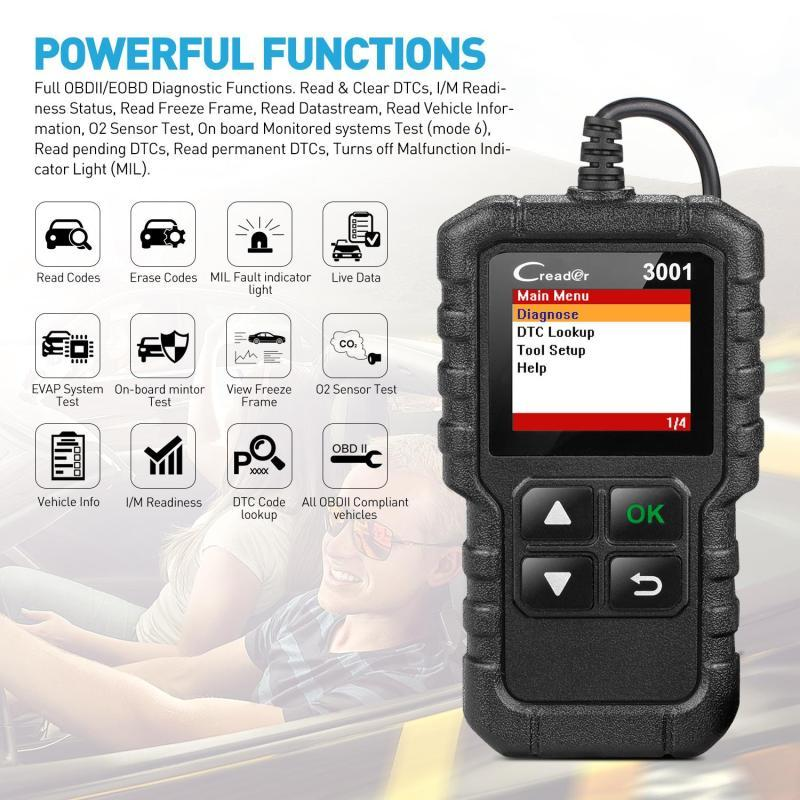 Full Obd2/eobd Function Diagnostic Tool 3001 Code Reader Scanner Cr3001 Launch By Powerful-Enterprise.