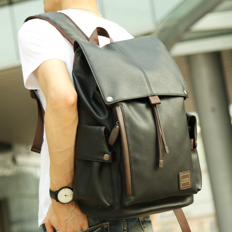 bd3a5abbb398 Shoulder Men PU Leather Fashion Travel Bag Middle School Students Bag  Leisure Men Bag Trend Computer
