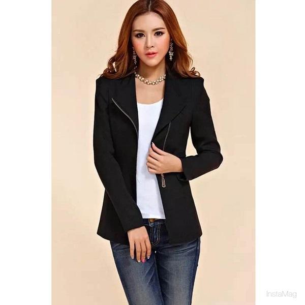 Women Blazers Jackets Suit Zipper Coat Slim Ol Business Formal Female Las Office 2216