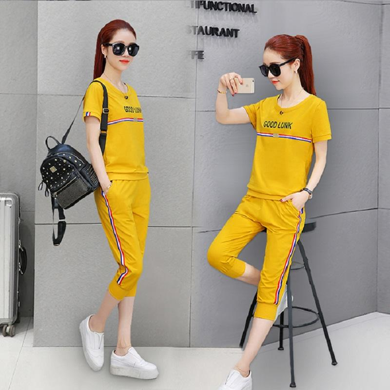 a0af744954b Sports women Suit Summer Korean Style CHIC Fashion 2017 New Style Two-Piece  Set Fashion