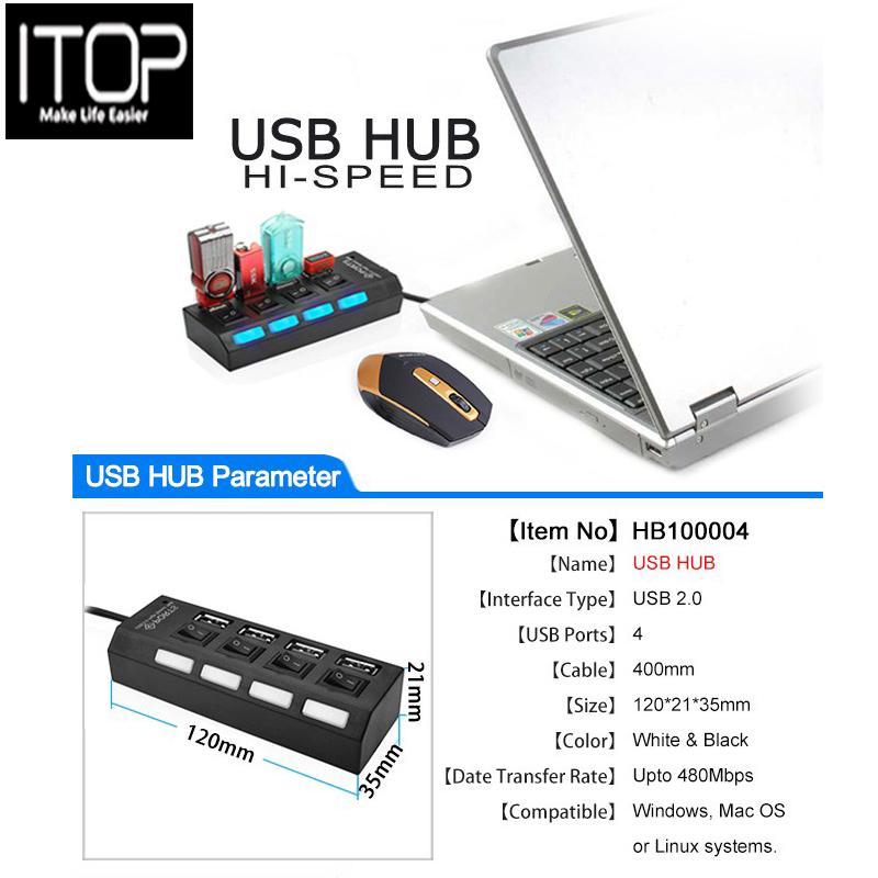 a2350ca4034 ITOP 4 PORT USBHUB HI-SPEED support 500GB USB 2.0 High speed Hub