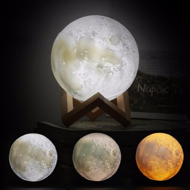 Led Lamps Goodland Rechargeable 3d Print Moon Lamp 3 Colors Change Button Switch Night Light 13cm 18cm Decor Creative Bookcase Desk Lamp
