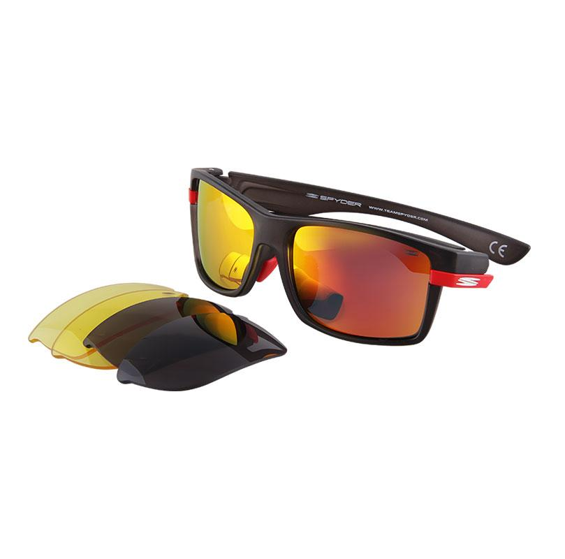 947a24e3e0 Spyder Interchangeable Sports Eyewear Stride 3S042 PZM (Black Frame  Mirror  Red Lens)