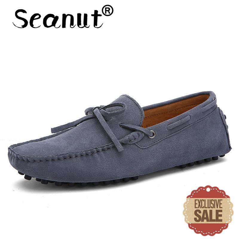 Seanut Fashion Leather Slip On Men Loafers Casual Shoes (Grey) - intl