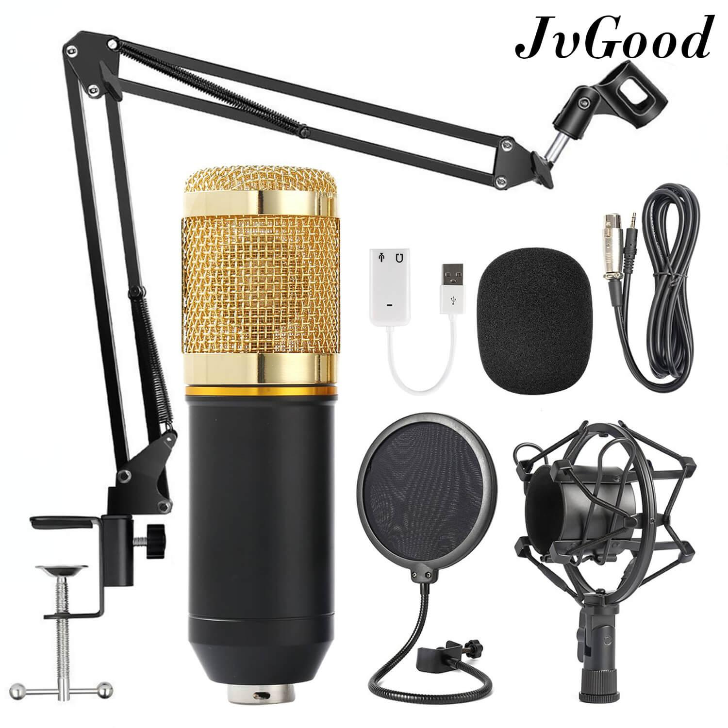 JvGood Condenser Microphone Stand Broadcasting & Recording Microphone Set Stand with Adjustable Mic Suspension Scissor Arm
