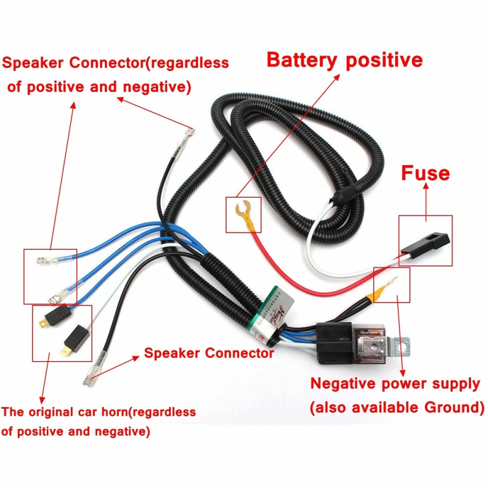 Car Horn Relay Wiring Harness Kit For Grille Mount Blast Tone Horns A Horn Wiring Harness Diy on