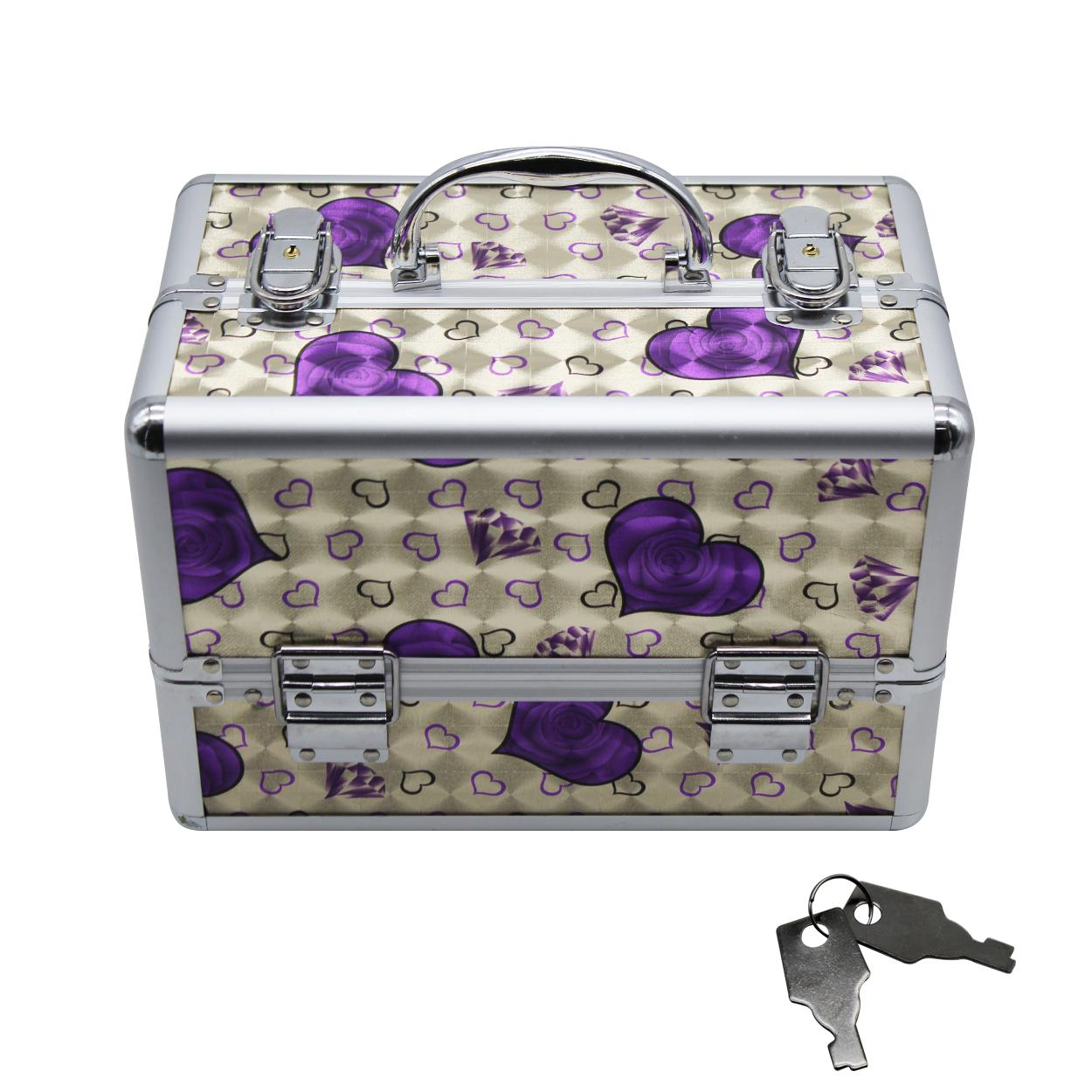 Professional Aluminum Makeup Case With Design (Purple Heart) Philippines