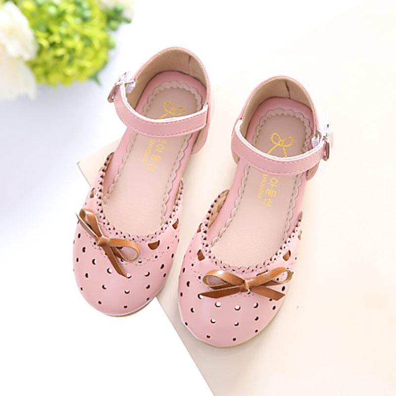 954f3e8c400 Children Leather Shoes Sandals 2019 Summer New Style Girls Sweet Bow  Princess Shoes Closed-toe