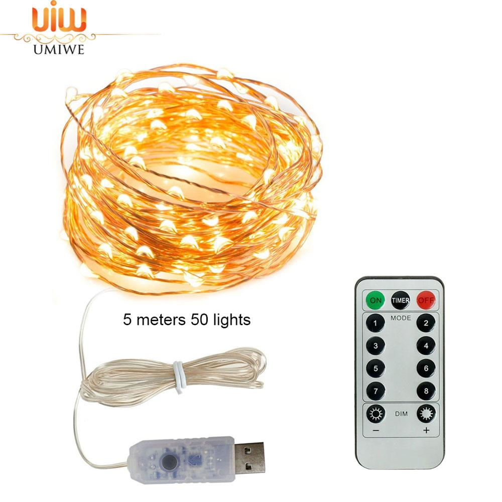 Umiwe LED String Lights, 16ft 50 LEDs Fairy Lights Battery Operated Waterproof 16 Colors Outdoor