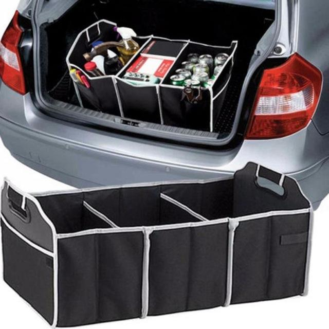 Car Auto Waterproof Foldable Black Car Boot Organizer Storage Bag Protable Auto Storage Box Multi-