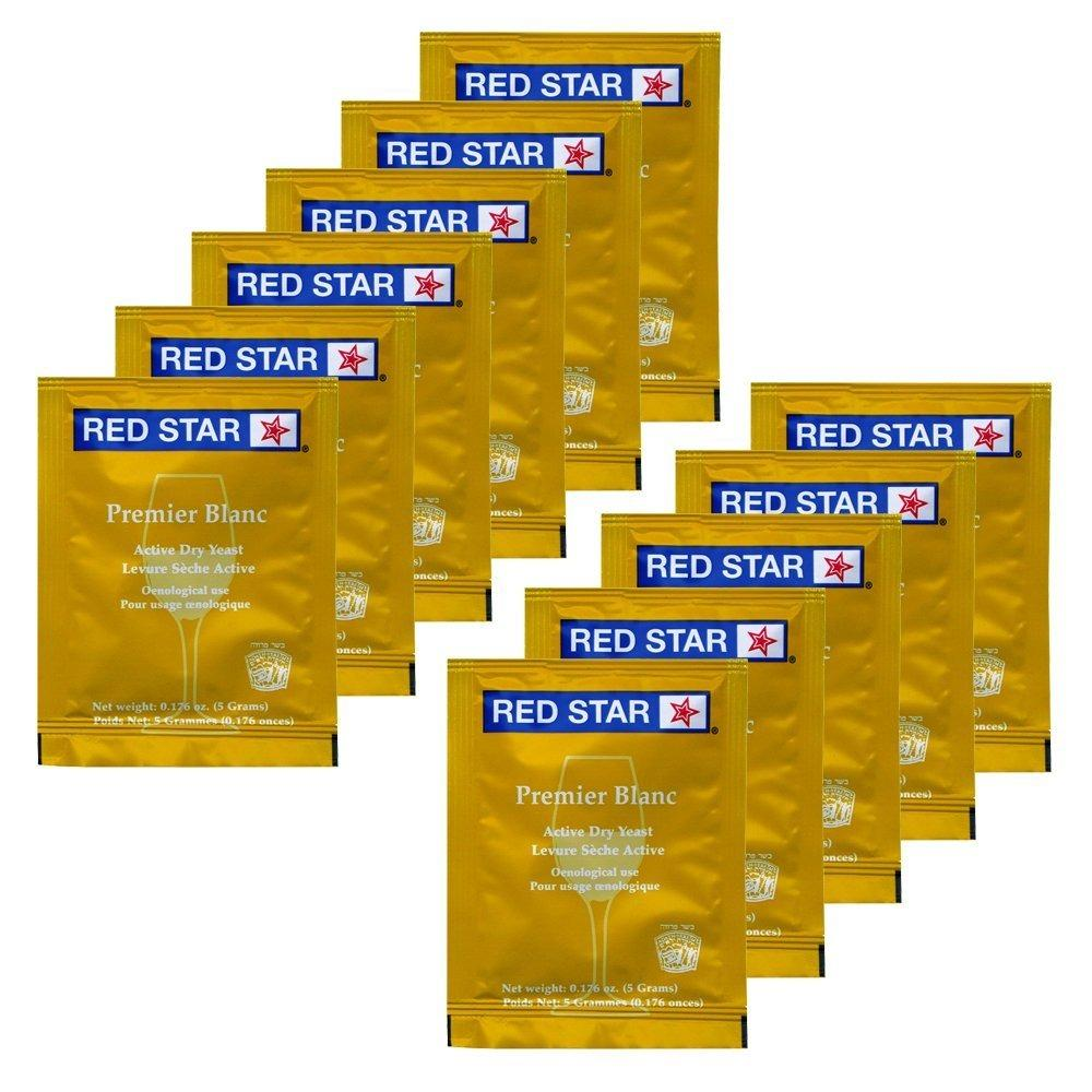Red Star Hozq8-529 Premier Blanc Wine Yeast, 5 G, Yellow (pack Of 11) By Elite Collection.
