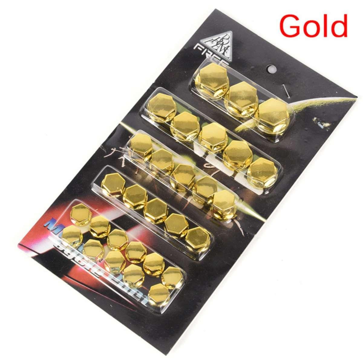 30pcs Motorcycle Screw Nut Bolt Cap Cover Decoration Centro Motorbike Ornament Gold By Luisone.