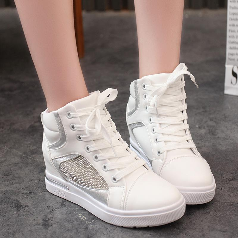 a2685798e88 Spring And Autumn Hight-top Thick Bottomed Platform Heel women Shoes  Elevator Casual Shoes White