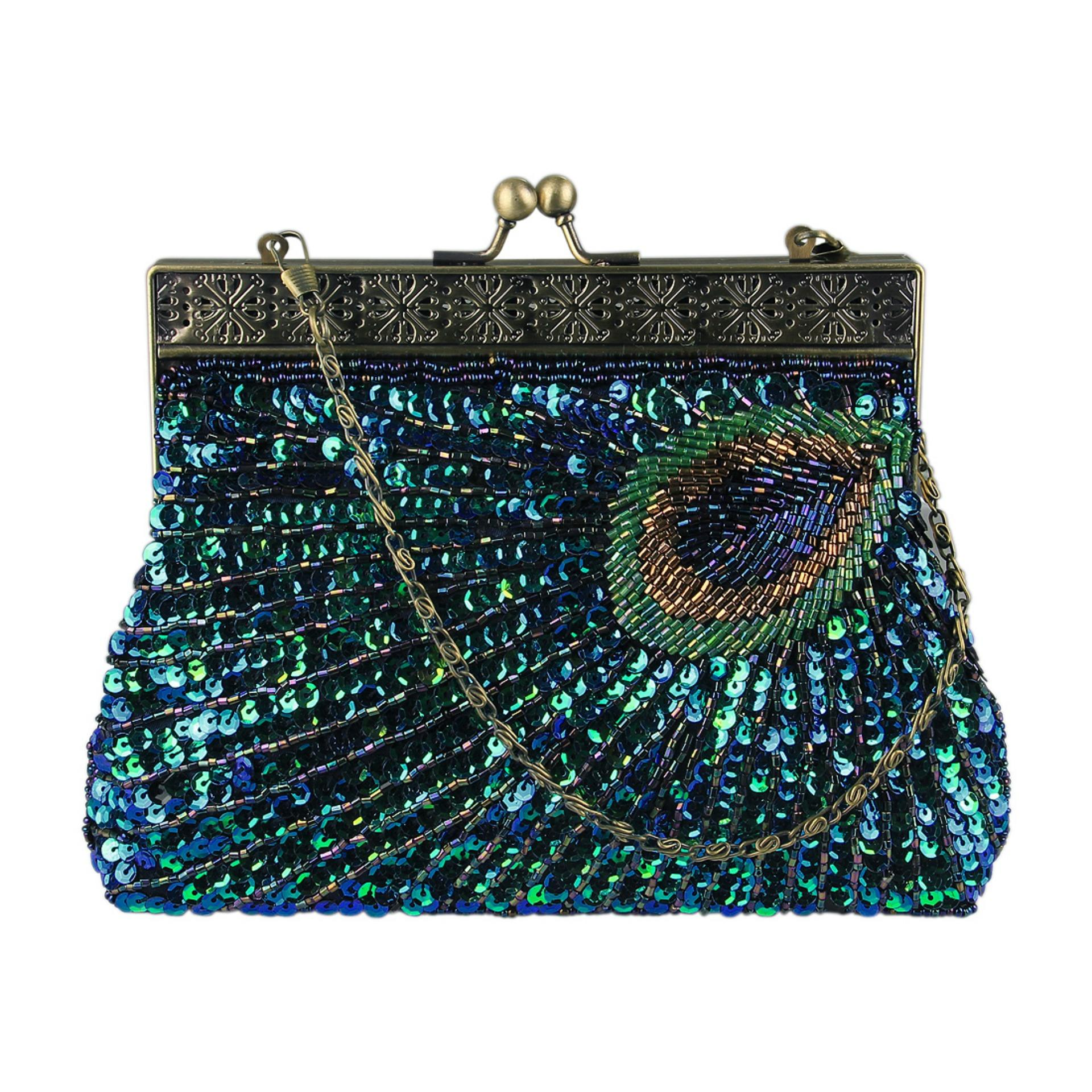 75e85e1c5f ECOSUSI Vintage Clutch Teal Peacock Antique Beaded Sequin Evening Handbag  Sunburst Navy and Turquoise Purse