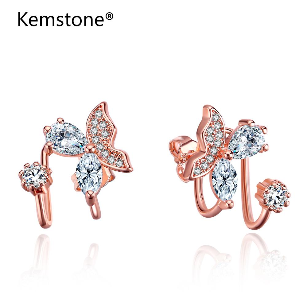 Kemstone Exquisite Rose Gold/Silver Cubic Zirconia Butterfly Stud Earrigs Jewelry for Women