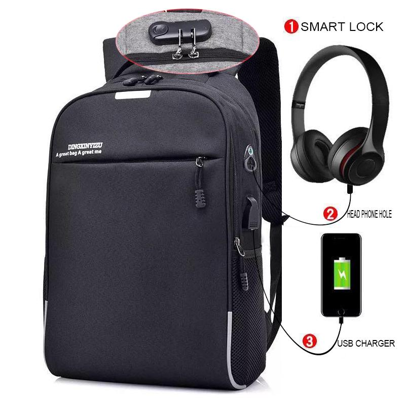 345 Anti Theft With Passcode Lock Backpack Usb And Head Phone Hole Waterproof Backpack By Abs Sports Outdoor.