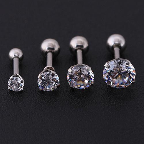 BODHI Men Women Rhinestone Cartilage Tragus Bar Helix Upper Ear Earring Stud Jewelry 3mm (Silver
