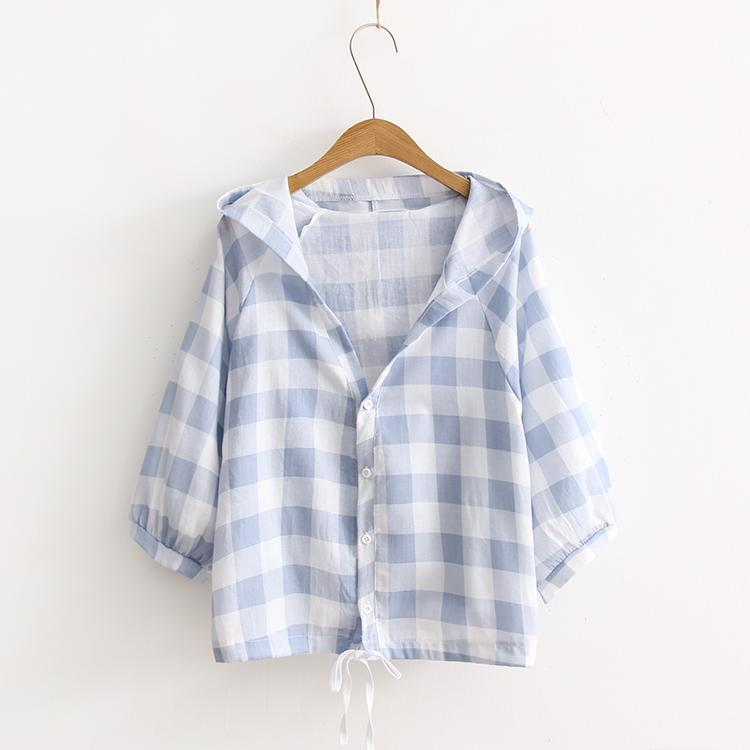 e9f935416915 Japanese-style Mori Girl Summer Wear Hipster Plaid Thin Hooded Short Coat  Students Loose Versatile