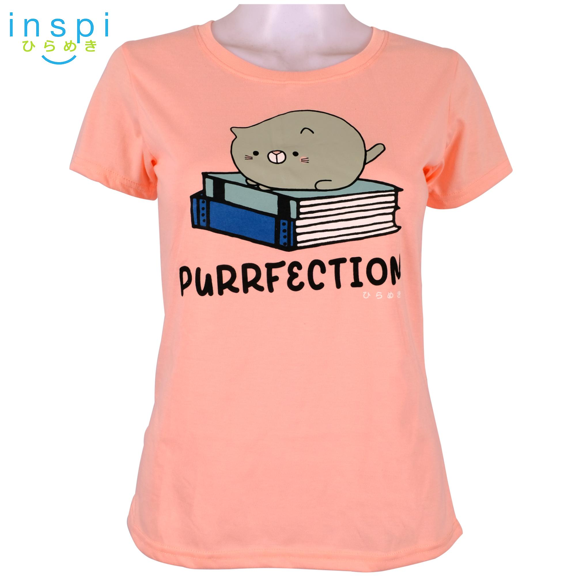 1b645541142 INSPI Tees Ladies Loose Fit Purrfection (Dairy Peach) tshirt printed  graphic tee t shirt