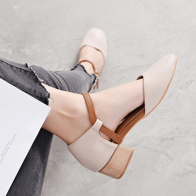 417b2d1ece2 Mary Jane Shoes women Semi-high Heeled Korean Style Summer Straight-line  Buckle Grandma