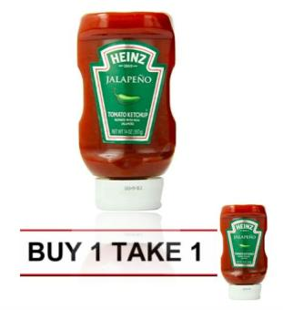 Heinz Ketchup, Blended with Real Jalapeno, 14 ounce Easy Squeeze Bottle BUY 1 TAKE 1