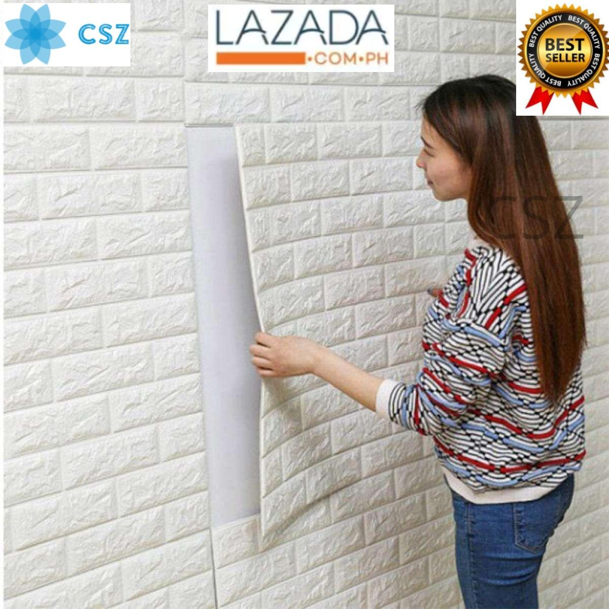 White Brick 1 Piece Wall Sticker Measures 70cm x 77cm 3D Effect Stone Pattern Soft Adhesive