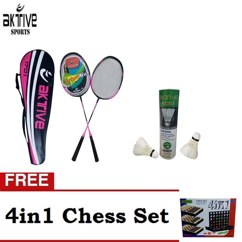 c2a71cb3dd2 Aktive Badminton 1701 and Aktive Shuttlecocks Green Label (6 pcs) with Free  4in1 Chess