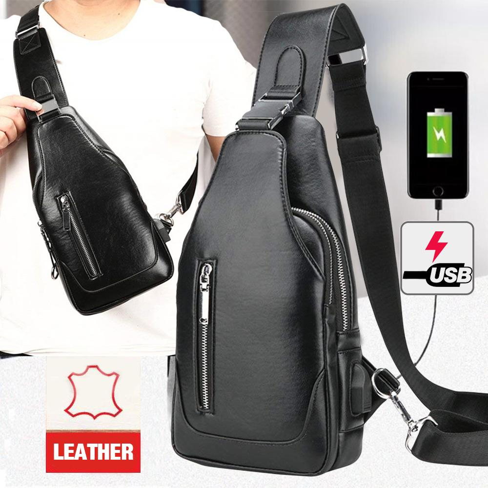Men s 2019 HS Anti Theft Crossbody Sling Bag - High Grade Leather with free  USB Cord a9d107f993093