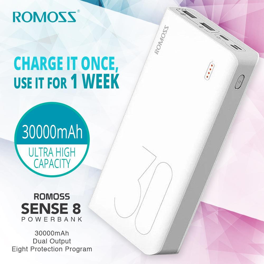 ROMOSS Sense 8 30000 MAh Universal Fast Charge 3Input Port High Capacity Power Bank (original